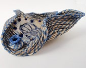 Blue Wave Blossom, Horsehair Basket, Coiled with Blonde Horse Hair, Art Sculpture, Blue Cream Bone, Ammonite