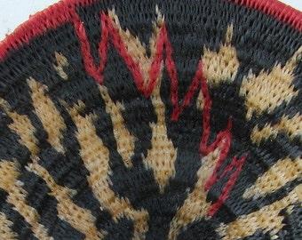 Interrupted Interlude, Miniature Basket,  Contemporary Design, Zebra, Lightning, Black White Red