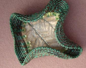 Green Wave Horsehair Basket, Coiled Horse Hair Art Sculpture