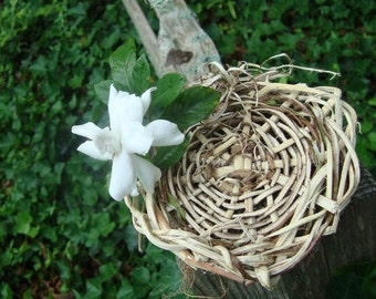 Ring Pillow Bearer Love Nest Natural Vine Wicker Basket Wisteria