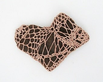 Heart Rock Paperweight in Blush Pink Woven Crocheted Corseted mY hEarT bElonGs 2 U