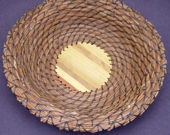 Pine Needle Basket Wood Parquet Bottom, Coiled Basket, Brown