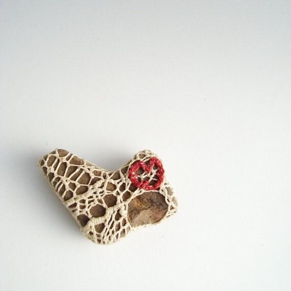 Heart of My Heart Rock Small Paperweight Woven Crocheted Broken