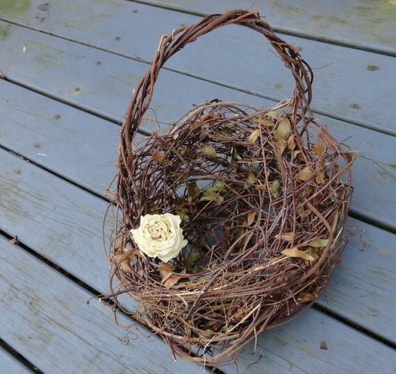 Primitive Vine Fower Girl Basket For Your Woodsy Wedding Jasmine Grapevine
