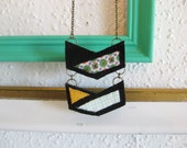 Leather/Fabric long necklace - double chevron