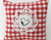 Embroidered Bird Fabric CUSHION / PILLOW With Lavender