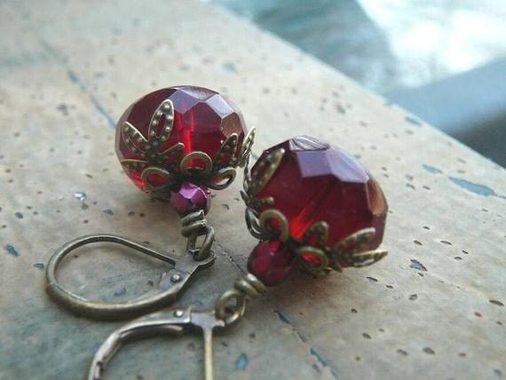 Little Red Devils - Rich Garnet Red Czech Glass, Antique Brass Leverback Earrings