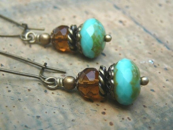 Dainty Rustics - Turquoise and Topaz Czech Glass, Antique Brass Earrings