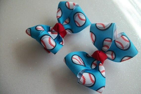 Baseball Hair Bows (ITEM 46)
