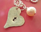 Valentine's Day - Hand Stamped Heart Necklace - Sterling Silver Initial Heart  - My Love - Free Shipping