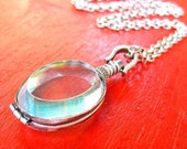 Mother's Day Glass Locket Necklace - Weddings or Memory Pendant -   FREE SHIPPING