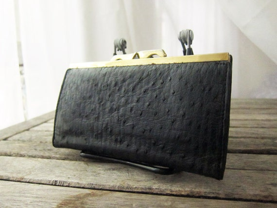 Vintage Navy Blue Ostrich Wallet Clutch