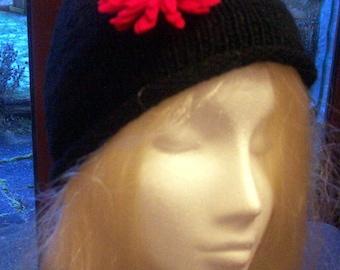 ladies black  hat with red felt flower