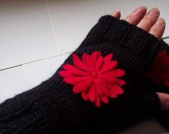 Ladies black fingerless gloves UK seller
