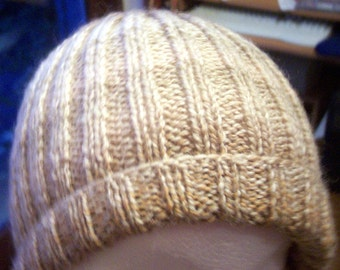 man's fawn beige  tweed knitted hat
