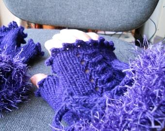 Steampunk /goth purple fingerless gloves