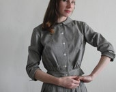 Vintage 1940s Two Piece . Blouse . Skirt . Dove Grey