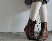 Vintage Italian Made Leather Ankle Boots