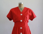 Vintage Cotton Linen Day Dress . Lipstick Red . Ambria Brand . 1980s