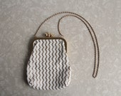 Vintage Mesh Purse . Gold Metal . Plastic Chevron Stripe . 1950s Mid Century Hand Bag . High Fashion