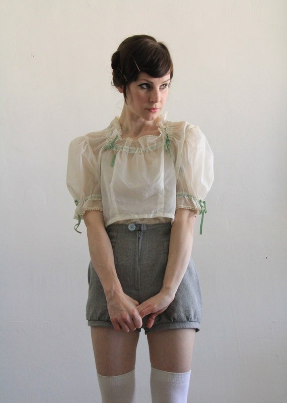 reserved. Antique Blouse . Sheer . Crop Top . Vintage White Shirt .