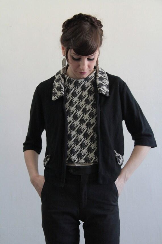 Vintage Two Piece Top Set . Oversize Houndstooth . Jacket Blouse . 1960s Mod Shirt