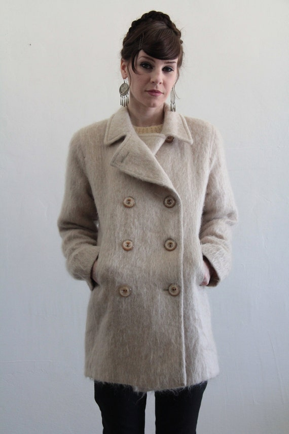 Vintage Mohair Pea Coat . 1980s Fall Attire . Pale Pink . Winter Wear