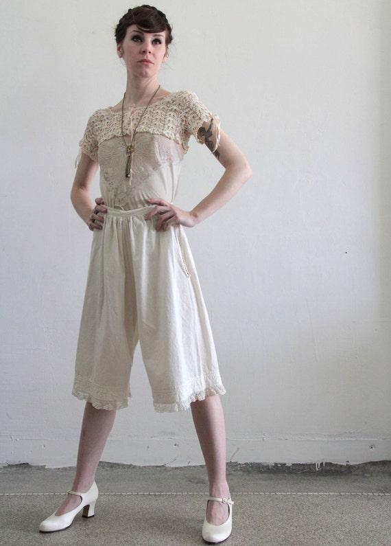 Edwardian Bloomers . Antique Pantaloon . White Cotton Pants