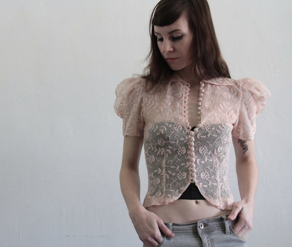 1930s Bobbin Lace Blouse . Crop Top . Vintage Shirt . The Sweetest Thing