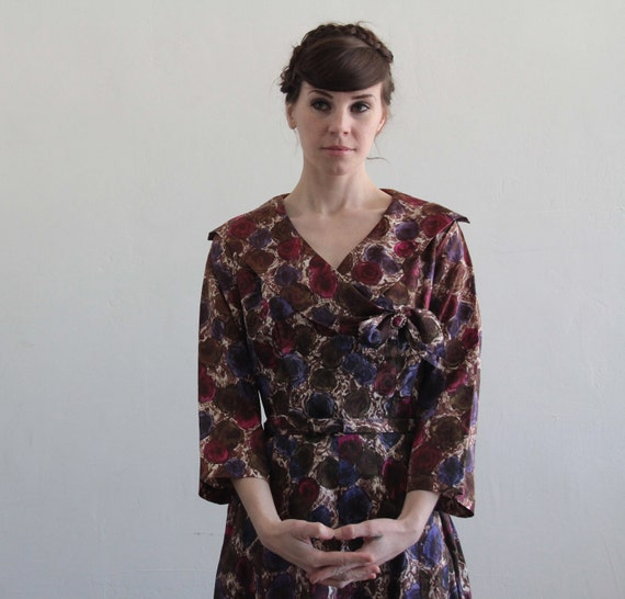 reserved ..... 1950s Dress . Purple Floral . Mid Century Cocktail Gown . Roses . Mad Men . SIZE LARGE