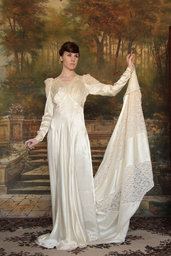 RESERVED . 1930s Wedding Dress . Vintage Gown . Satin . Lace . Long Train . Bridal Wear . Bride . Lace Sleeves