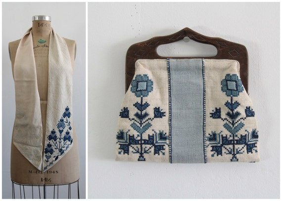 1950s Scarf Purse Duo . Athens Greece Two Piece Set . Embroidery . Silk . Hand Bag . Vintage Mid Century