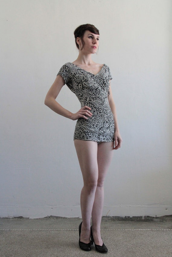 reserved....1940s Vintage Swimsuit . Bathing Suit . Black and White Paisley . Pin Up . Bombshell . Summer Beach Wear