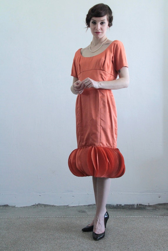 1960s Couture Dress . Creamsicle . Circle Hem . OOAK . High Fashion.  Mod.  Copper Peach Cocktail Wiggle Gown