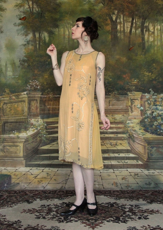 1920s Silk Beaded Gown . Flapper Dress . Gold . Antique . Rose Beading . High Fashion