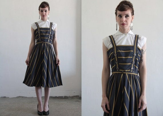 RESERVED . Vintage 1960s Dress . Grey Yellow Stripes . Sailor Sundress