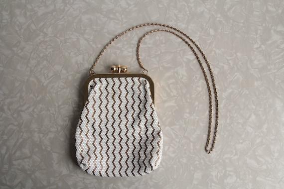 Vintage Mesh Purse . Gold Metal . Plastic Chevron Stripe . 1950s Mid Century Hand Bag . High Fashion