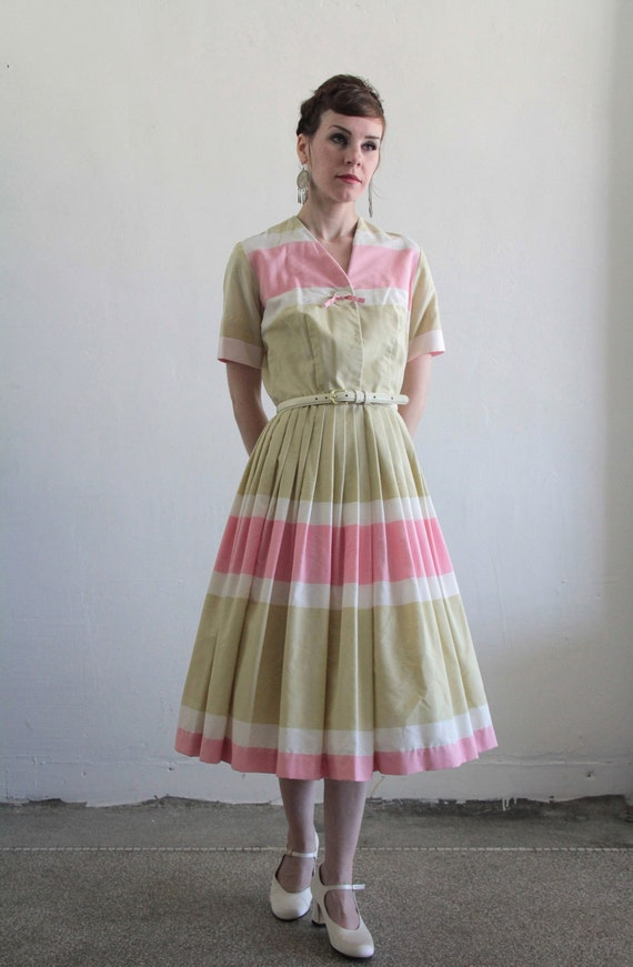 Vintage Neapolitan Dress . Pink Tan Beige . Mid Century Day Dress . 1960s