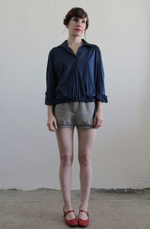 Vintage Navy Blouse . 1970s . Poly . Blue Shirt . Vneck Top