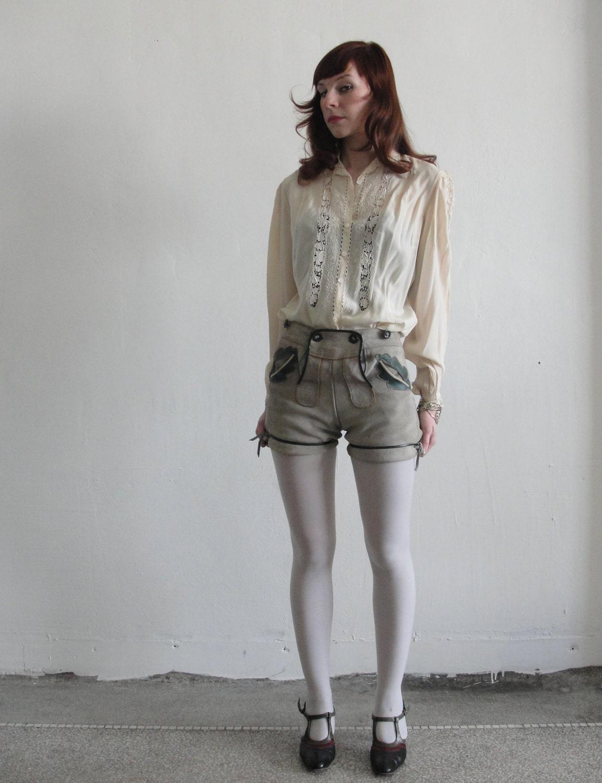 Later Hosen Vintage Lederhosen Suede Hot Pants