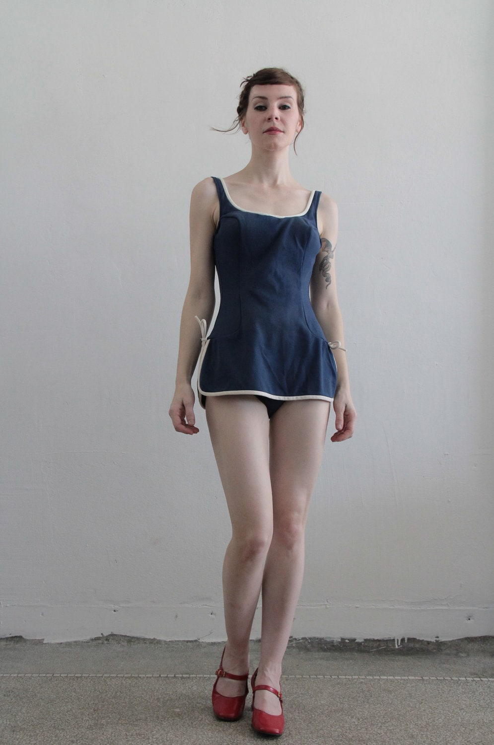 Vintage 60s Swimsuit 1960s Bathing Suit Navy Blue By