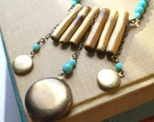 Locket Necklace Geometric Modern Tribal Turquoise Golden Coral Branches- Sticks, Stones, and Memories