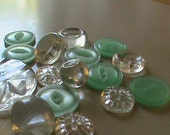 Vintage Buttons - Beautiful clear glass (9) and 7 ice green acrylic  (458)