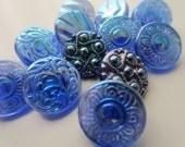 Vintage Buttons - Czech Glass beautiful iridescent shades of blue assortment, lot of 12 - (lot 1058)