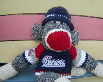 Sock Monkey New England Patriots or Your Team