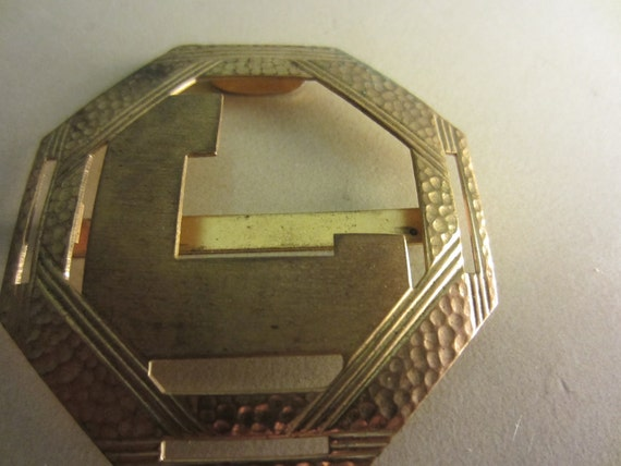 Vintage Gold Belt Buckle - Geometric hammered gold and very nice (no.161)