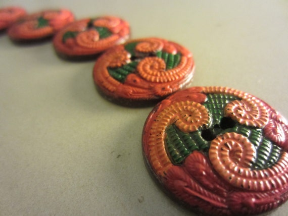 Reserved for Linda Green -Vintage Buttons - Lot of 5 orange and green mix, very cute