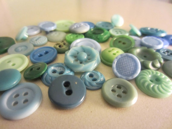 Vintage Buttons - Country chic sweet  blue, green and teal green lot of 40 plus celluloid, and acrylic