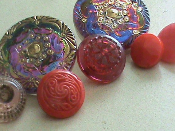 Vintage Buttons - Czech Glass beautiful red and blue mix of iridescent, hand painted lot of 7  - (353)