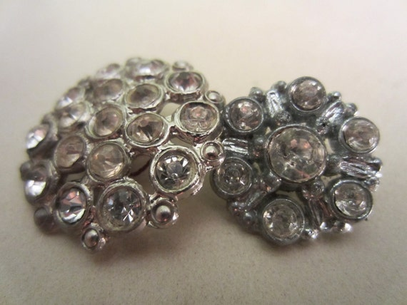 Vintage Buttons - beautiful lot of 2 Rhinestone styles, estate sale buttons (lot 1007)